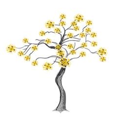 Beautiful Yellow Flowers on Tree vector image vector image