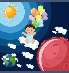 baby boy dreams to fly to mars on clouds and vector image vector image