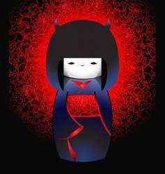 demonic Japanese doll vector image vector image