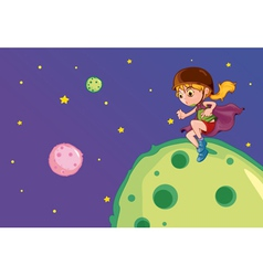 Girl on the moon vector image vector image