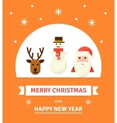 Greeting Christmas Card New Year characters vector image vector image