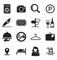 hotel silhouette icons vector image