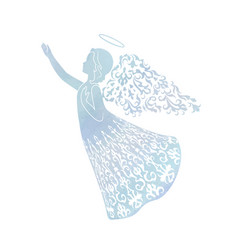 watercolor angel with ornamental wings vector image vector image