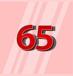65 years anniversary red elegant number template vector