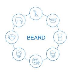 8 beard icons vector