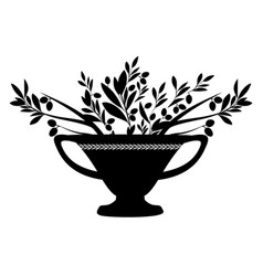 Amphora with olive branches symbol vector