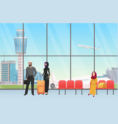 Arab people waiting for flight in airport hall vector