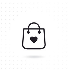 bag shopping icon with heart symbol vector image