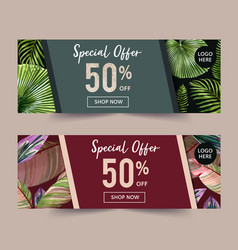Banner design with simple tropical theme creative vector
