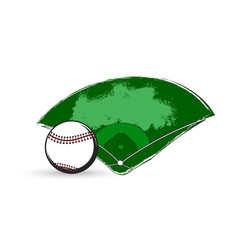 baseball sport game ball and diamond play field vector image