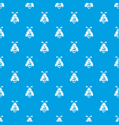 bee pattern seamless blue vector image