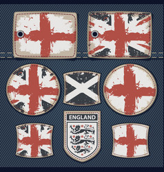 british flag on label on jeans vector image