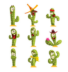cactus characters sett funny cacti with different vector image