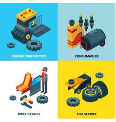 car parts collection engine automobile wheels vector image