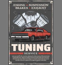 Car tuning auto service retro poster vector