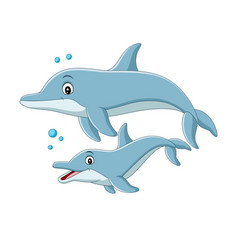 cartoon mother dolphin swims with baby vector image