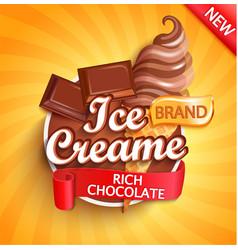chocolate ice cream logo label or emblem vector image