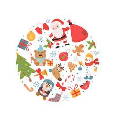 Christmas holiday symbols in circle shape vector
