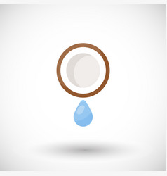 Coconut water flat icon vector
