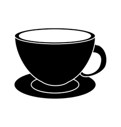 Coffee cup cappuccino plate pictogram vector