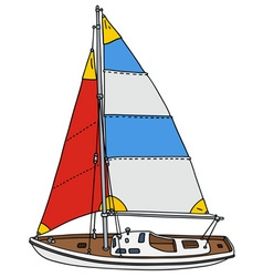 Color sailing yacht vector