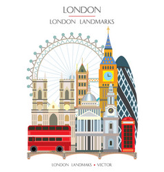 colorful london landmark 10 vector image