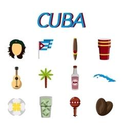 Cuba flat icon set vector