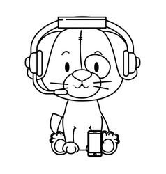 Cute little dog character vector