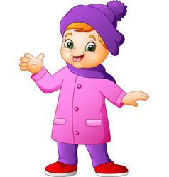 cute little girl in winter clothes vector image