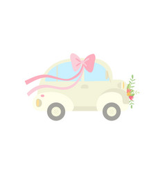 Cute vintage car decorated with bow on roand vector