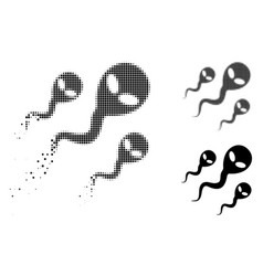 Decomposed dotted halftone alien sperm icon vector