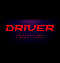 drive sport font wide italic letter with modern vector image