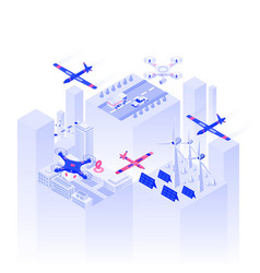flat color modern isometric design - drone vector image