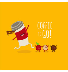 funny image running cup coffee with coffee bean vector image
