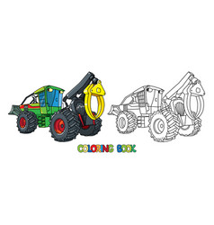Funny skidder car with eyes coloring book vector