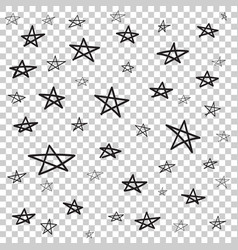 Hand drawn star pattern with ink doodles simple vector