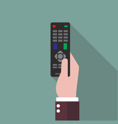 Hand holding remote control vector
