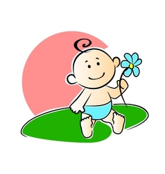 Happy adorable infant playing with a flower vector