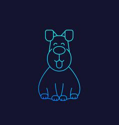 happy dog icon linear vector image