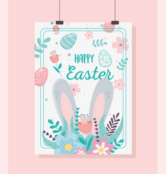 happy easter card big ears flowers floral vector image