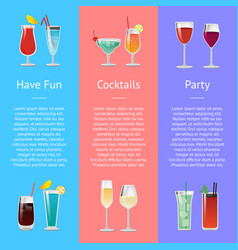 having fun cocktails party banner with beverages vector image