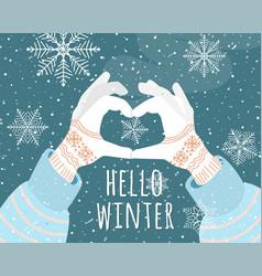 hello winter holiday vector image