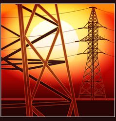 High-voltage lines at sunset vector