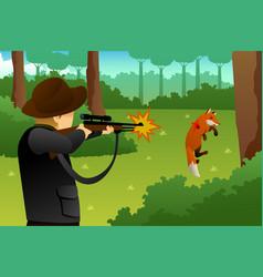 Hunter shooting a fox vector