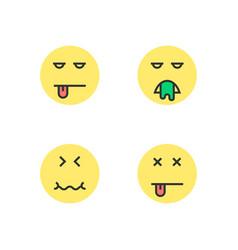 intoxication yellow thin line emoji vector image