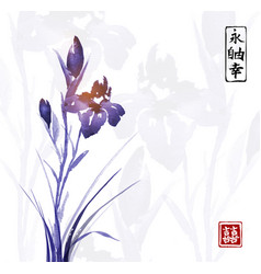 iris flower hand drawn with ink traditional vector image