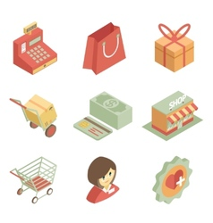 Isometric shopping icons vector image