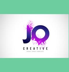 Jo j o purple letter logo design with liquid vector