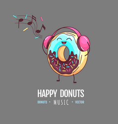 Kawaii funny donut listening to music vector
