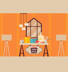 kitchen interior flat style cooking setup food vector image